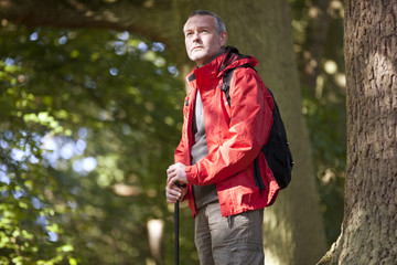 A mature man standing in woodland