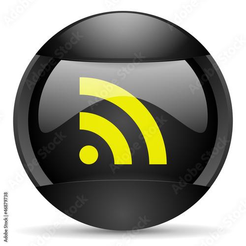 rss round black web icon on white background