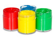 four color paint cans