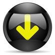 arrow down round black web icon on white background