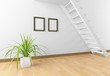 white empty interior with stairs