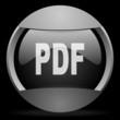 pdf round gray web icon on black background