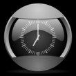 clock round gray web icon on black background