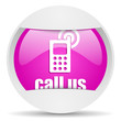 call us round violet web icon on white background