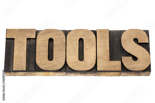tools word in wood type