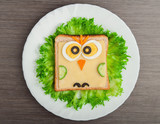 Fototapety design food. Creative sandwich for child with  picture little ow