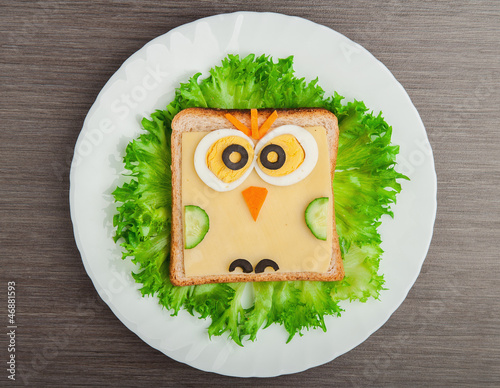 design food. Creative sandwich for child with  picture little ow
