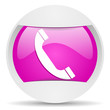telephone round violet web icon on white background