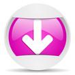 arrow down round violet web icon on white background