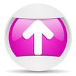 arrow up round violet web icon on white background