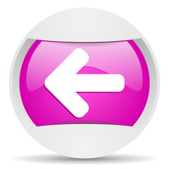 arrow left round violet web icon on white background