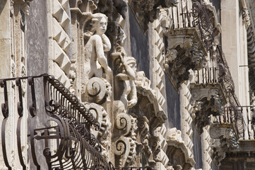 detalis of a barique balcony in Catania, Sicily, Italy, Europe