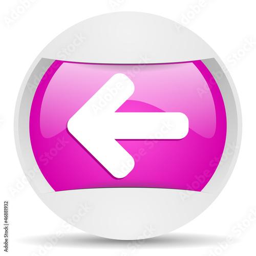 arrow left round violet web icon on white background