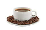 White cup of coffee with coffee beans on a plate