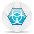 virus round blue web icon on white background