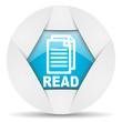 read round blue web icon on white background