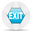exit round blue web icon on white background