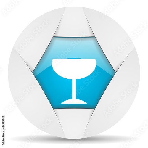 glass round blue web icon on white background