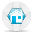 home round blue web icon on white background