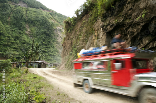 jeepney mountain road banaue philippines