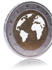 Euro Münze mit Weltkugel
