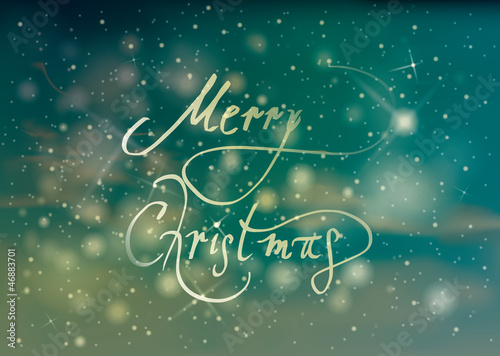 MERRY CHRISTMAS card / Retro snowy background