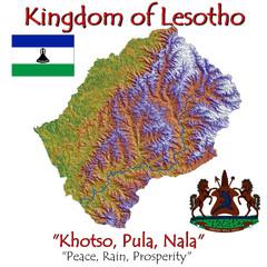 Lesotho Africa national emblem map symbol motto