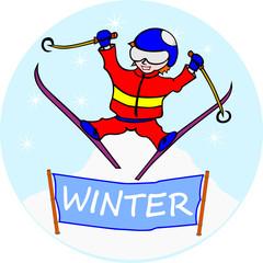 Skaczący narciarz