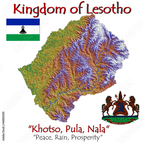 Lesotho Africa national emblem map symbol motto