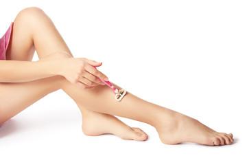 Shaving leg.