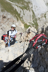 climbing on Via Ferrata