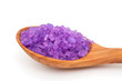 lavender bath salt in a wooden spoon