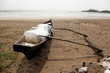 fishing boat moored in the sand on a beach in Goa