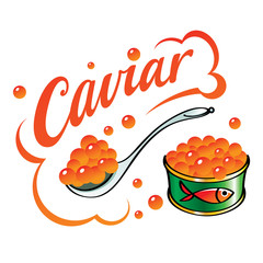 Caviar red fish food delicacy can food spoon