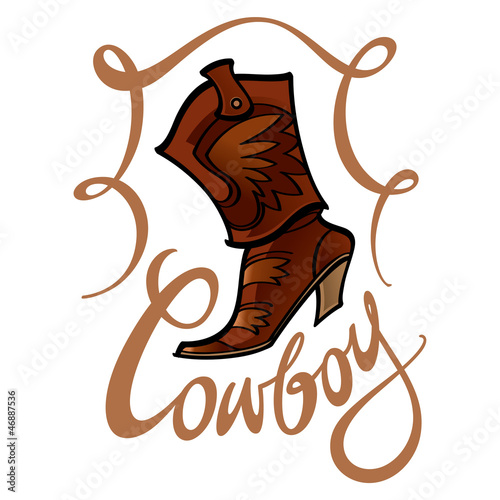 Cowboy boot fashion leather foot wear shoe