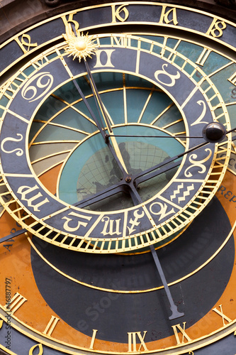 Old astronomical clock in the center square of Prague
