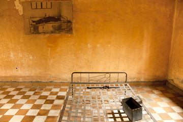 S21 jail cell under the regime of Pol Pot