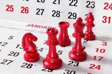 Chess Pieces on Calendar