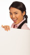 Happy Asian woman with blank sign