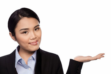 Asian businesswoman holding out her palm