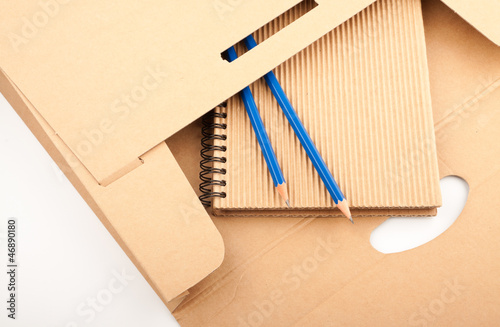 Notepad, pencils and paper folder