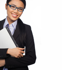 Confident Asian businesswoman with laptop
