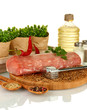 composition of raw meat, vegetables and spices