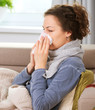 Sick Woman.Flu.Woman Caught Cold. Sneezing into Tissue
