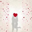 Küssendes Paar auf Vintage Hintergrund