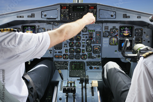 Pilots in the plane cockpit