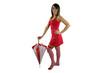 ragazza in rosso con ombrellino
