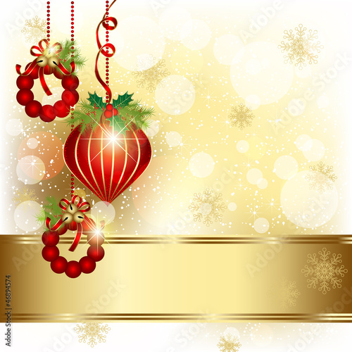 Christmas Ornament on Gold Color Background