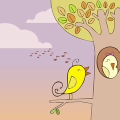 Bird sing to philander  Vector