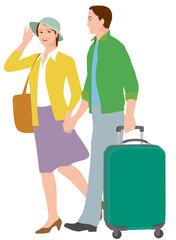 旅行するシニア夫婦